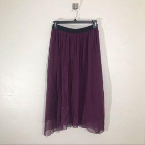 Anthropologie Julie Haus Silk Purple Midi Skirt L